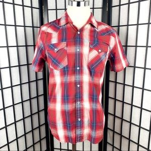 Levis Pearl Snap Plaid Short Sleeve Shirt.  Size M